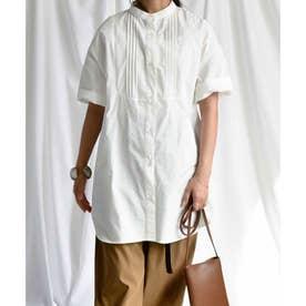 Pin tuck stand collar blouse 23022 ピンタックスタンドカラーブラウス (ホワイト)