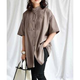Pin tuck stand collar blouse 23022 ピンタックスタンドカラーブラウス (モカ)