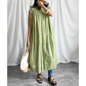 Cotton shirt sleeveless volume one-piece (グリーン)