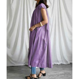 Cotton shirt sleeveless volume one-piece (パープル)