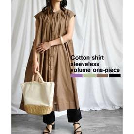 Cotton shirt sleeveless volume one-piece (ブラウン)