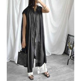 Cotton shirt sleeveless volume one-piece (ブラック)