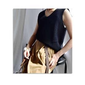 【SUMMER SALE】ARG kint tank top(Back belt) (ブラック)