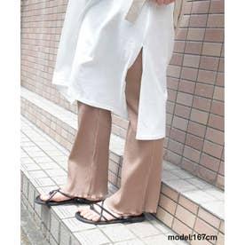 Side slit mellow rib pants (ベージュ)