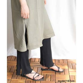 Side slit mellow rib pants (ブラック)