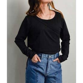 Rib layered pullover tops 24156 リブレイヤードプルオーバー (ブラック)
