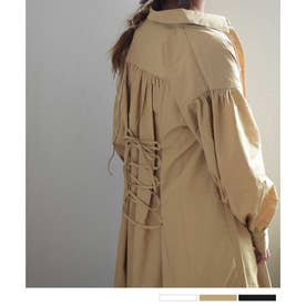Lace up shirt one-piece 29086  レースアップシャツワンピース (ベージュ)