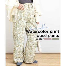 Watercolor print loose pants 22006 水彩画プリントルーズパンツ (グリーン)