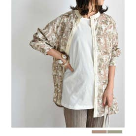 Watercolor print shirt 23006 水色プリントシャツ (ピンク)