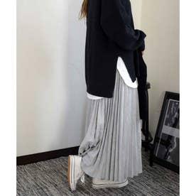 Fake suede pleats skirt 222033 フェイクスエードプリーツスカート (グレー)