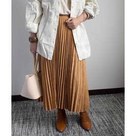 Fake suede pleats skirt 222033 フェイクスエードプリーツスカート (キャメル)