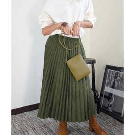 Fake suede pleats skirt 222033 フェイクスエードプリーツスカート (カーキ)