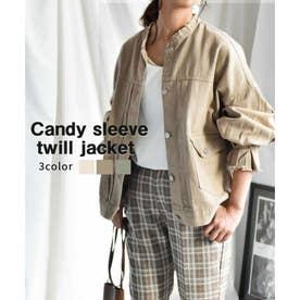 Candy sleeve twill jacket 21027 キャンデイスリーブツイルジャケット (ベージュ)