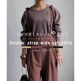 Double strap wide salopette 29089 ダブルストラップワイドサロペット (モカ)