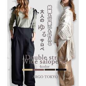 Double strap wide salopette 29089 ダブルストラップワイドサロペット (ブラック)