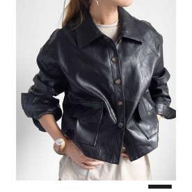 Fake leather short jacket 21082 フェイクレザーショートジャケット (ブラック)