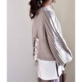 Back open knit pullover 25006 バックオープンニットプルオーバー (グレージュ)