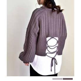 Back open knit pullover 25006 バックオープンニットプルオーバー (ラベンダー)