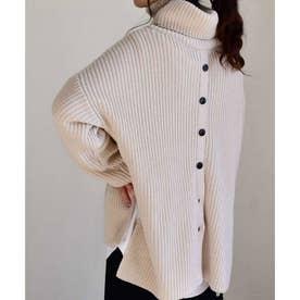 Back button turtleneck knit tops 25075 バックボタンタートルネックニットトップス (アイボリー)