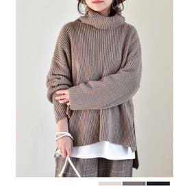 Back button turtleneck knit tops 25075 バックボタンタートルネックニットトップス (モカ)