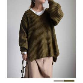 Low gauge loose knit tops 25073 ローゲージルーズニットトップス (カーキ)