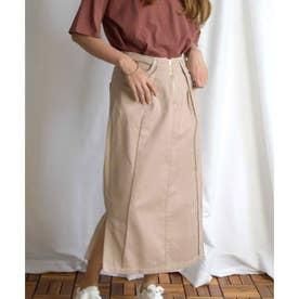 Cut off tight skirt 222042 カットオフタイトスカート (ベージュ)