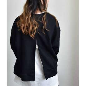 バックジップスウエットプルオーバー 24114 Back zippered sweatshirt pullover (ブラック)