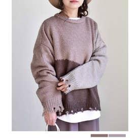 Color blocking damage knit pullover 25009 カラーブロッキングダメージニットプルオーバー (グレージュ)