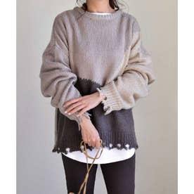 Color blocking damage knit pullover 25009 カラーブロッキングダメージニットプルオーバー (モカ)