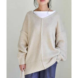 Vneck Outlinking knit pullover 25005 Vネックアウトリンキングニットプルオーバー (アイボリー)