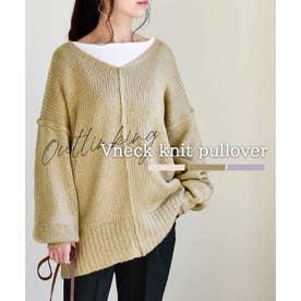 Vneck Outlinking knit pullover 25005 Vネックアウトリンキングニットプルオーバー (オリーブ)