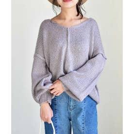 Vneck Outlinking knit pullover 25005 Vネックアウトリンキングニットプルオーバー (パープル)