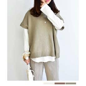 Bulky damage knit vest 25012 バルキーダメージニットベスト (グレージュ)