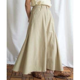 Cotton rayon side switching skirt 222044 コットンレーヨンサイドステッチスカート (グレージュ)
