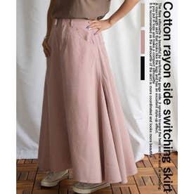 Cotton rayon side switching skirt 222044 コットンレーヨンサイドステッチスカート (スモーキーピンク)