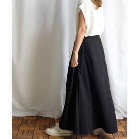 Cotton rayon side switching skirt 222044 コットンレーヨンサイドステッチスカート (ブラック)