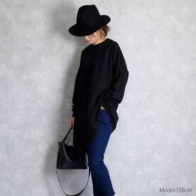 ワイドシルエットロングTシャツ (ブラック)
