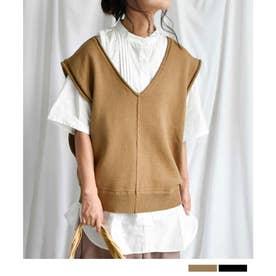 ARGニットベスト ARG knit vest 25013 (ベージュ)