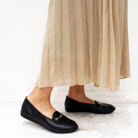 足が痛くならない靴・ビット付きフラットシューズ (ブラック)