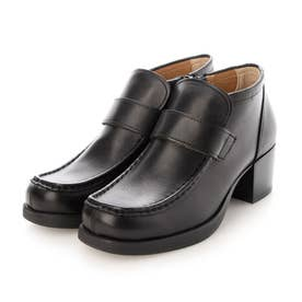 おでこ靴の新作・厚底モカローファー (ブラック)
