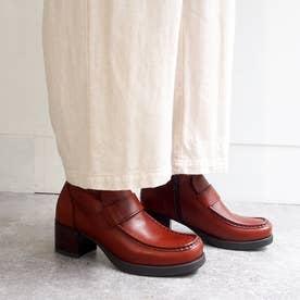 おでこ靴の新作・厚底モカローファー (ダークブラウン)
