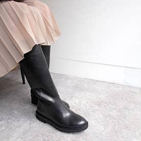 今年らしいセミルーズ【軽量】シンプルロングブーツ (ブラック)