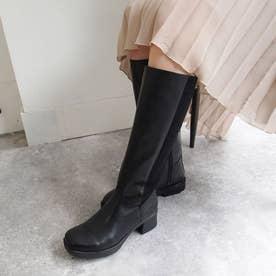 おでこ靴のフォルムがかわいいニットロングブーツ (ブラック)