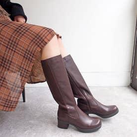 おでこ靴のフォルムがかわいいニットロングブーツ (ダークブラウン)