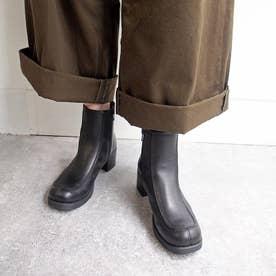 おでこ靴の新作・厚底モカショートブーツ (ブラック)
