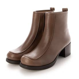 おでこ靴の新作・厚底モカショートブーツ (グレー)