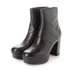 スタイルアップ効果抜群の厚底フェミニンショートブーツ (ブラック)