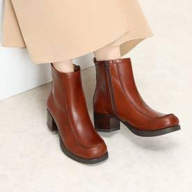 おでこ靴の新作・厚底モカショートブーツ (ダークブラウン)