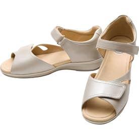 上質な天然皮革使用 女性用サンダル アサヒメディカルウォークSL レディース 婦人靴 足に優しいSHM機能搭載 レディース (ベージュ/メタリック)