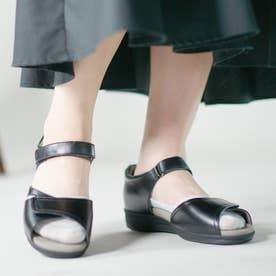 上質な天然皮革使用 女性用サンダル アサヒメディカルウォークSL レディース 婦人靴 足に優しいSHM機能搭載 レディース (ブラック)